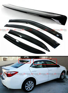 For 2014 18 Toyota Corolla 3d Wavy Window Visor Rear Roof Spoiler Visor Combo
