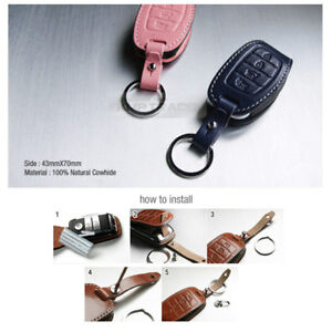 Genuine Leather Cover Folding Key Remocon Case Hlu 6 For Hyundai 4button
