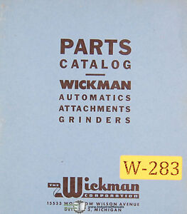 Wickman No 1 Grinding Automatic Attachment Parts Manual