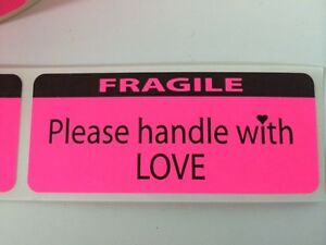 Fragile Handle With Love Labels stickers 25 1 25x3 Ebay Shipping Labels Ebay New