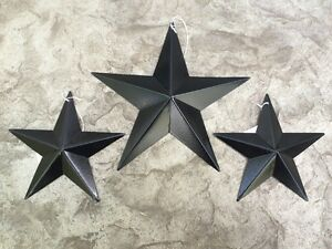 Set Of 3 Satin Black Barn Stars 8 5 5 Primitive Rustic Country Decor Antique