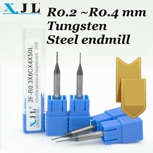 Cnc Endmill Micro ball Round Mill R0 2mm Tungsten Steel Long Blade 2flute X2pcs