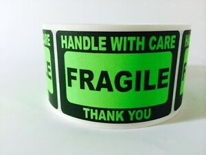 50 2x3 Fragile Stickers Handle With Care Stickers Green Neon Fluorescent 2x3 New