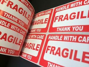 1000 2x3 Fragile Stickers Self Adhesive Handle With Care Stickers Shipping Label