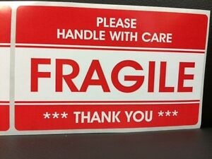 100 3 2x5 2 Fragile Stickers Handle With Carethank You Stickers Fragile Ship New