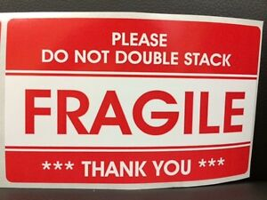 100 3 2x5 2 Fragile Stickers Please Do Not Double Stack Sticker Fragile Ship New