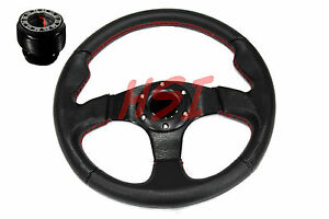 88 91 Honda Civic Acura Da Db Black On Black Steering Wheel W red Stitching hub
