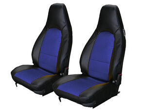 Porsche 911 928 944 968 Black Blue Leather Like Custom Made Front Seat Cover