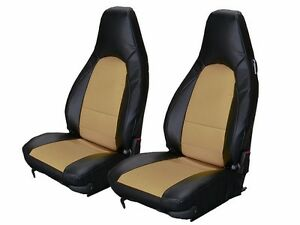 Porsche 911 928 944 968 Black beige Leather like Custom Made Front Seat Cover