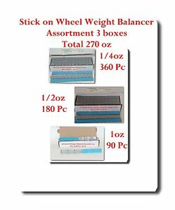 Stick On Wheel Wight Balance Assortment 3 Boxes 0 25oz 0 50oz 1oz Total 270 Onze