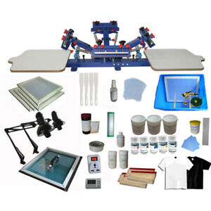4 Color 2 Station Silk Screen Printing Press Full Set Materials Kit Exposure