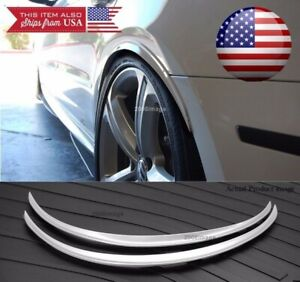 1 Pair Silver 1 Flexible Arch Wide Fender Flares Extension Guard Lip For Ford