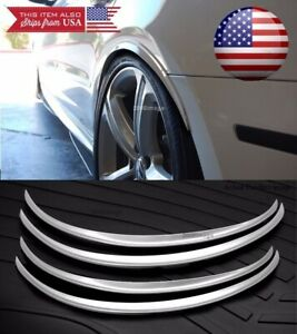 2 Pairs Silver 1 Flexible Arch Wide Fender Flares Extension Guard Lip For Ford