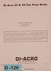 Di Acro 25 And 35 Ton Press Brakes Operator Instructions And Parts Manual 1969