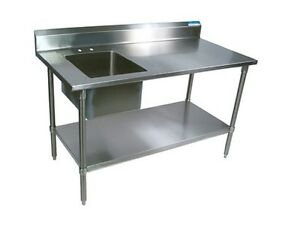 Stainless Steel Prep Table W Faucet Left Sink Commercial Bbkpt 3072s l p g