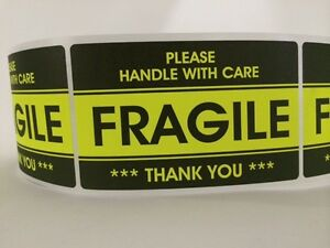 250 3 2x5 2 Fragile Stickers Handle With Carethank You Stickers Yellow Fragile
