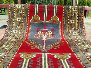 Beautiful 1950 1960s Vintage 3 5 5 9 Tribal Patterned Wool Pile Prayer Rug