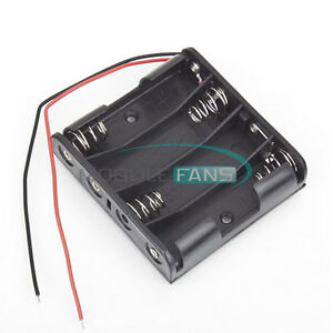 2pcs New Plastic Battery Case Storage Box Holder With Wire Leads 6 0v 4aa