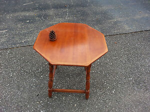 Vintage 1940 S Octagonal Solid Maple End Table