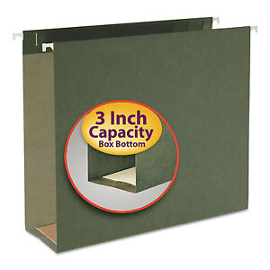 Smead Three Inch Capacity Box Bottom Hanging File Folders Letter Green 25 box