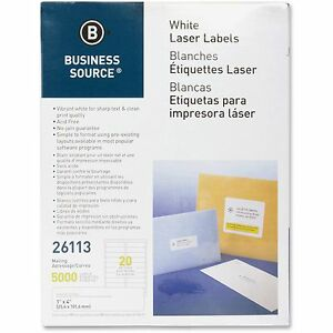 Business Source Mailing Labels Laser 1 x4 5000 pk White 26113
