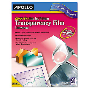 Apollo Color Inkjet Quickdry Transparency Film W removable Stripe Letter Clear