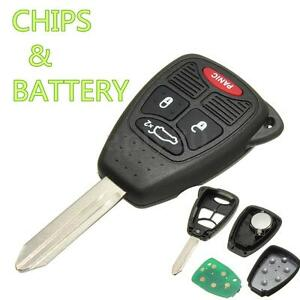 4 Button Remote Head Key Fob Entry Clicker Chip Transmitter Fits Dodge Chrysler