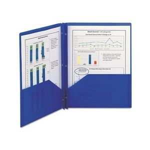 Poly Two pocket Folder With Fasteners 8 1 2 X 11 Blue 25 box