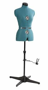 Dress Form Small 9 Adjustable Wheels Personalize Measurements Green Foam backed