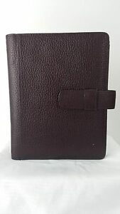 Day Timer Pebbled Leather Planner Cover Desk Size 1 Rings Ox Blood Burgandy
