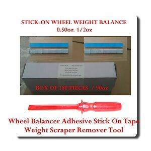 180 Pc 1 2 0 50oz Stick On Wheel Weight Balance Adhesive Scraper Remover Tool