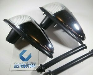 1958 1963 Vw Bug Front Turn Signal Assembly Set Left Right Chrome Clear Lens