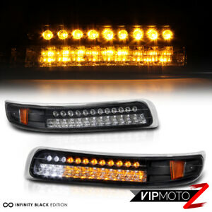 cool 99 02 Silverado 00 06 Suburban Tahoe Black Amber Led Bumper Lights Lamp