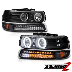 best 99 02 Silverado 00 06 Suburban Tahoe Black Ccfl Halo Led Bumper Headlight
