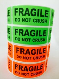 250 1x3 Fragile Do Not Crush Labels Stickers Neon Red Green Fluorescent New