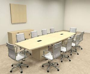 Modern Boat Shaped Cube Leg 12 Feet Conference Table of con cq25