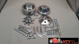Small Block Chevy Polished Aluminum Bracket Pulley Set Sbc Long Water Pump Lwp