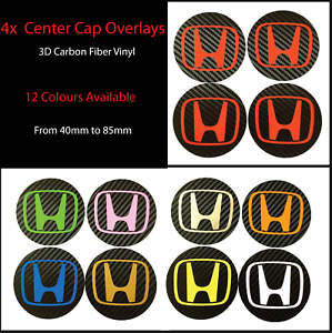X4 Honda Carbon Fiber Vinyl Wheel Rims Centre Cap Stickers Decals Type R S2000