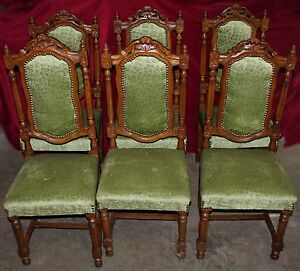 Antique French Renaissance Heavily Carved Dining Chairs Set Of Six