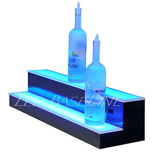 37 2 Step Glowing Led Lighted Back Home Bar Liquor Bottle Display Shelf Rack