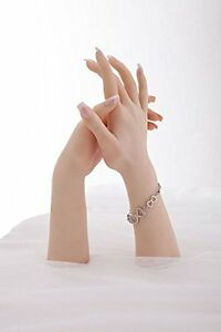 1 pair Perfect Silicone Female Hand Mannequin Arbitrarily bent Jewelery Display