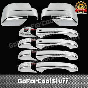 For Jeep Patriot 08 12 4drs Handle W smrtkh full Mirror 2pc Chrome Covers