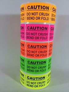 100 2x3 Caution Sticker Label Neon Do Not Crush Bend Or Fold Fragile New