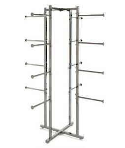 New Chrome 4 Way Lingerie Rack With 16 Round 12 Arms