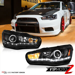 08 17 Mitsubishi Lancer Evolution X Halo Led Projector D2s Xenon Black Headlight