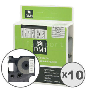 10pk Black On Clear Tape Label Compatible For Dymo 53710 D1 24mm 1