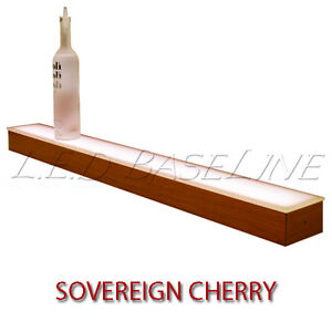 24 1 Tier Led Lighted Liquor Display Shelf Cherry Finish