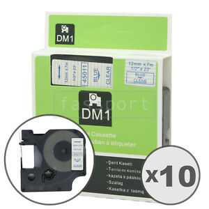 10pk Blue On Clear Tape Label Compatible For Dymo 45011 D1 12mm 1 2