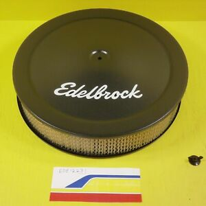 Edelbrock 1223 Air Cleaner Steel Round 14 Black Drop Base 3 8 Deeper Flange