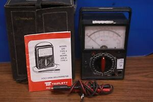 Vintage Triplett Model 6a Multimeter W Case And Manual